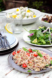 Assortment of salad sides for lunch party Royalty Free Stock Images
