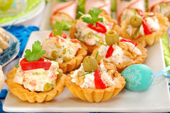 Assortment of salty mini tartlets with various filling Stock Photography