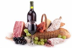 Assortment of sausage and wine Stock Images