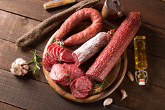 Assortment of sausages Royalty Free Stock Photos