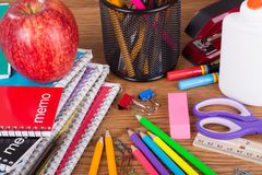 Assortment of School and Office Supplies Royalty Free Stock Image