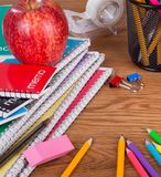Assortment of School and Office Supplies Stock Images