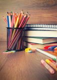 Assortment of school supplies Stock Images