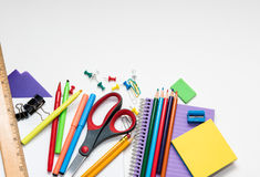 Assortment of school supplies. Isolated on a white background Royalty Free Stock Photo