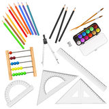 Assortment of school supplies  on white background Royalty Free Stock Photo