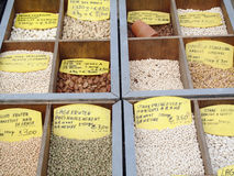 Assortment of seeds. On a belgian market Stock Photography