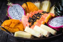 Assortment of Tropical Fruits royalty free stock image