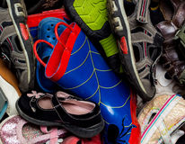 Assortment of shoes. Boots, and sandals Stock Images