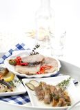 Assortment of smoked fish Stock Photos