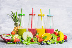 Assortment of smoothie with ingredients for blending royalty free stock photography