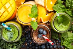 Assortment of smoothies Stock Images
