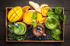 Assortment of smoothies Royalty Free Stock Photos