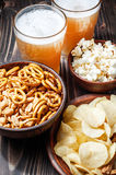 Assortment of snacks for beer, fast food, closeup, royalty free stock photo