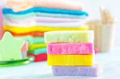 Assortment of soap and towels Royalty Free Stock Photos
