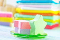 Assortment of soap and towels Royalty Free Stock Photography