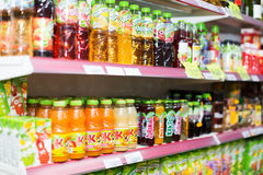 Assortment of soft drinks. BARCELONA, SPAIN - MARCH 22, 2015: Assortment of soft drinks at beverage section in average Polish supermarket in Spain Royalty Free Stock Photography