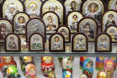 Assortment of souvenir religious Orthodox gifts. Moscow. 12.10.2 royalty free stock image
