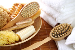 Assortment of spa brushes and accessories stock photography