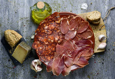 Assortment of spanish cold meats Stock Photos