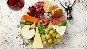 Assortment of spanish tapas or italian antipasti stock video