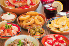 Assortment of Spanish tapas and sangria Royalty Free Stock Images