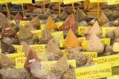 Assortment of spice in italian market Royalty Free Stock Photo
