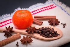 Assortment spice star anise, cinnamon sticks, cloves and orange stock photos