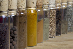 Assortment of spices. Clear vials filled with various spices lined up on a cutter board Royalty Free Stock Photo