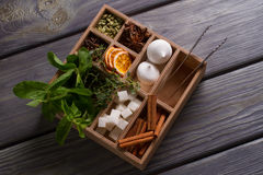 Assortment of spices, harbs and sweets. Stock Images