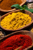 assortment of spices and herbs, selective focus, closeup Stock Image