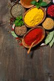 Assortment of spices and herbs on a wooden table, top view Royalty Free Stock Photos