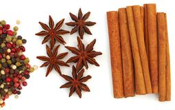 Assortment spices on white background. Assortment spices. Various seasonings for cooking on white background Stock Images