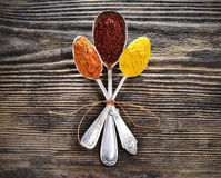 Assortment of spices in vintage spoons Royalty Free Stock Photography