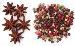 Assortment spices on white background. Assortment spices. Various seasonings for cooking on white background Royalty Free Stock Photo