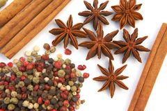 Assortment spices on white background. Assortment spices. Various seasonings for cooking on white background Royalty Free Stock Photos
