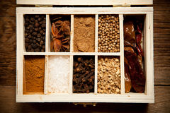 Assortment of spices in wooden box Stock Photography