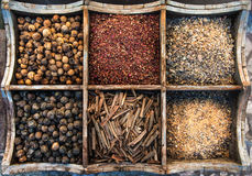 Assortment of spices in wooden box. Assortment of spices and olibanum in wooden box stock photography