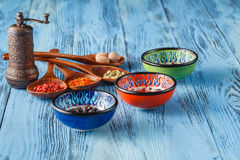 Assortment of spices in wooden spoons on wooden background stock image
