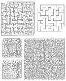 Assortment of Square Mazes. An assortment of square mazes ranging from very simple to very difficult. Good luck Royalty Free Stock Photo