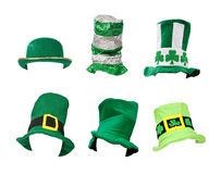 Assortment of St Patricks Day Hats. Six St. Patrick's Day hats isolated on white for easy extraction. Images were taken on a model head for proper perspecive and Royalty Free Stock Image