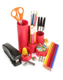 Assortment of stationery. Assortment of office stationery on a white background Stock Photo