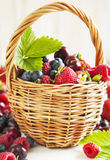 Assortment of summer berries in the basket. Royalty Free Stock Photography
