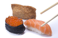 Assortment sushi with chopsticks Stock Images