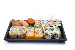 Assortment sushi with chopsticks Stock Image