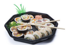 Assortment sushi with chopsticks Stock Photos