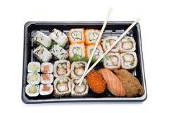Assortment sushi with chopsticks Royalty Free Stock Image