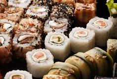 Assortment of sushi rolls set closeup macro shot Royalty Free Stock Photos