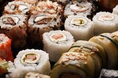 Assortment of sushi rolls set closeup macro shot Royalty Free Stock Image