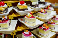 Assortment of sweets in buffet line Stock Photo