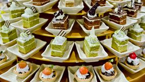 Assortment of sweets in buffet line Stock Image